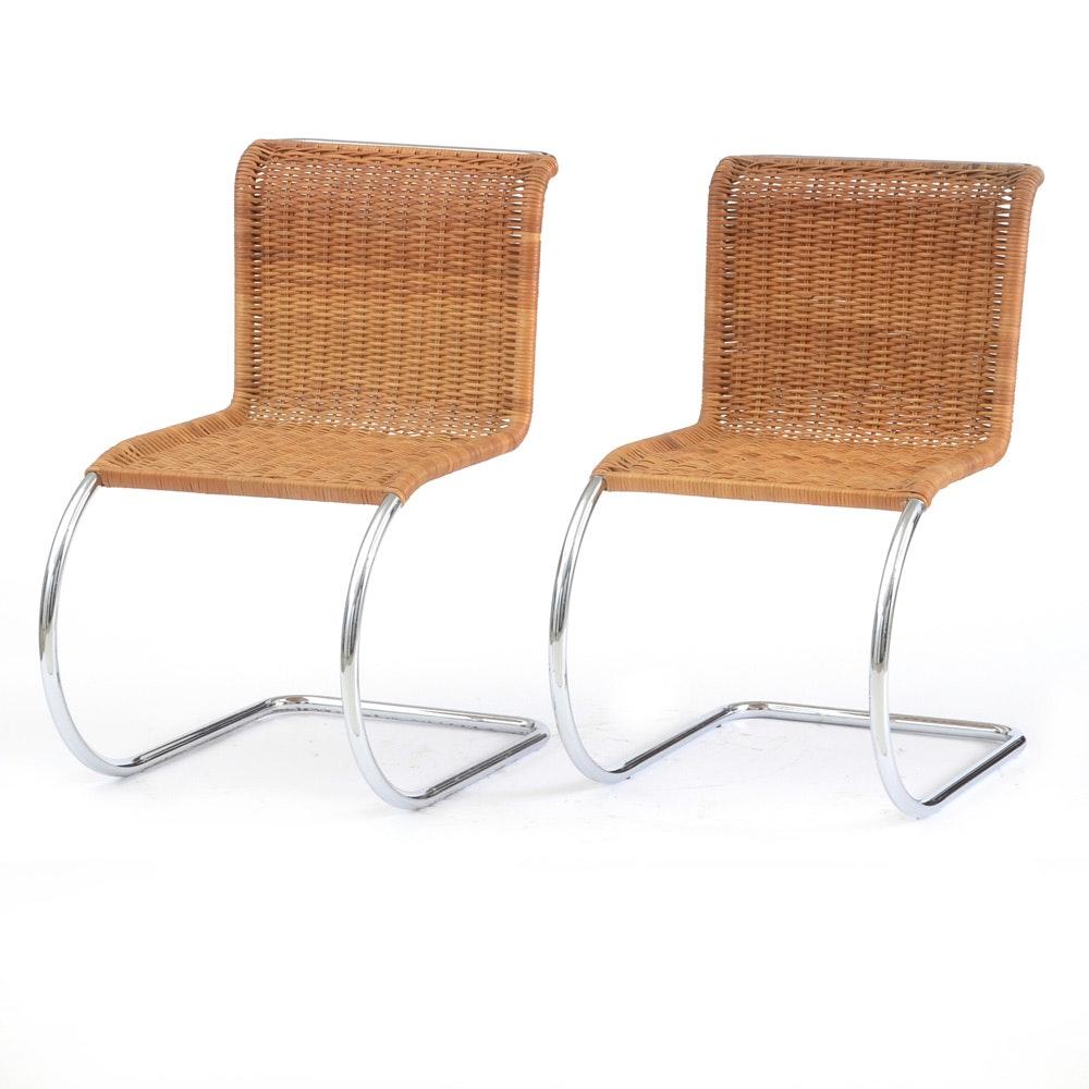 Pair Of Mies Van Der Rohe MR Wicker Side Chairs ...