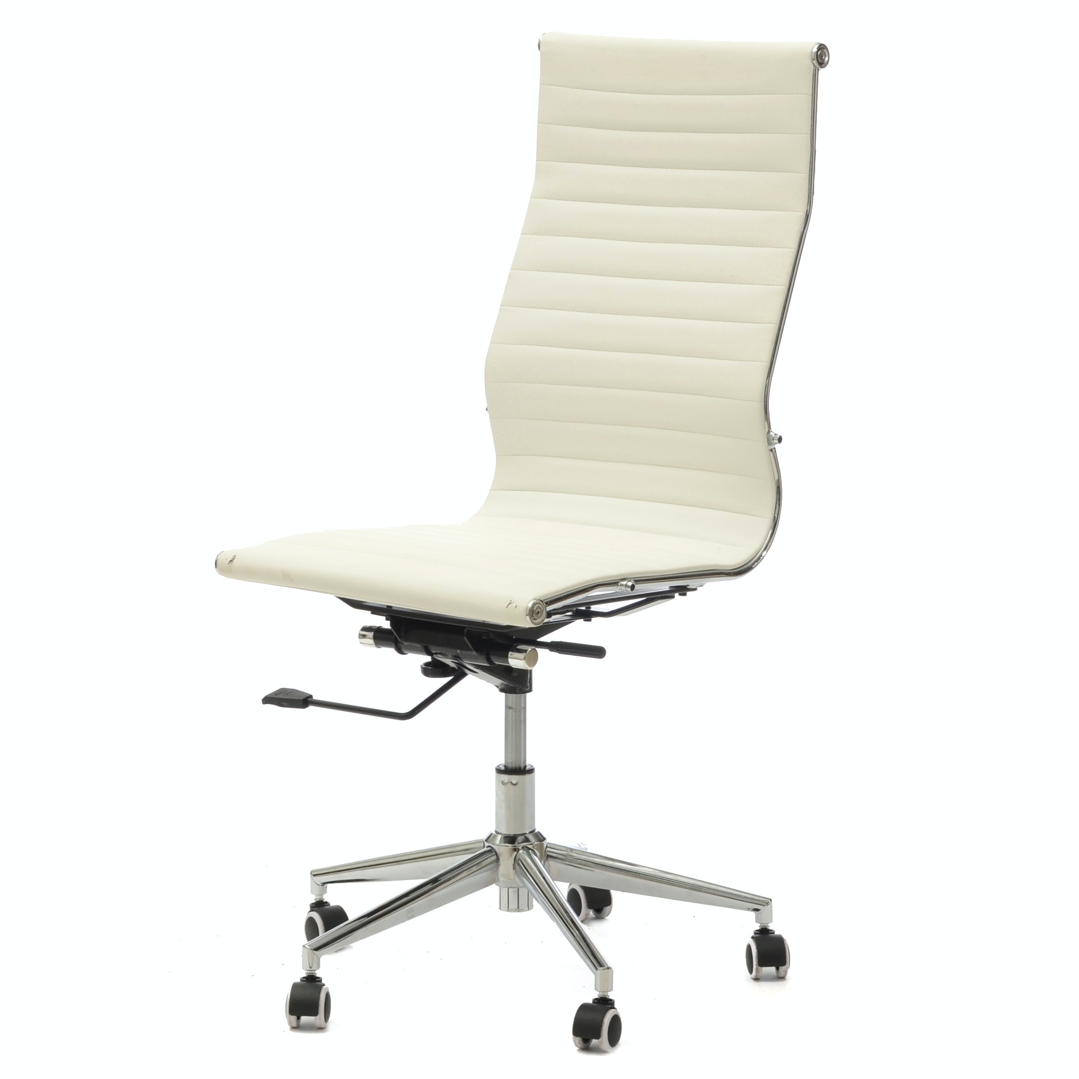 Ribbed White Leather Modern Desk Chair