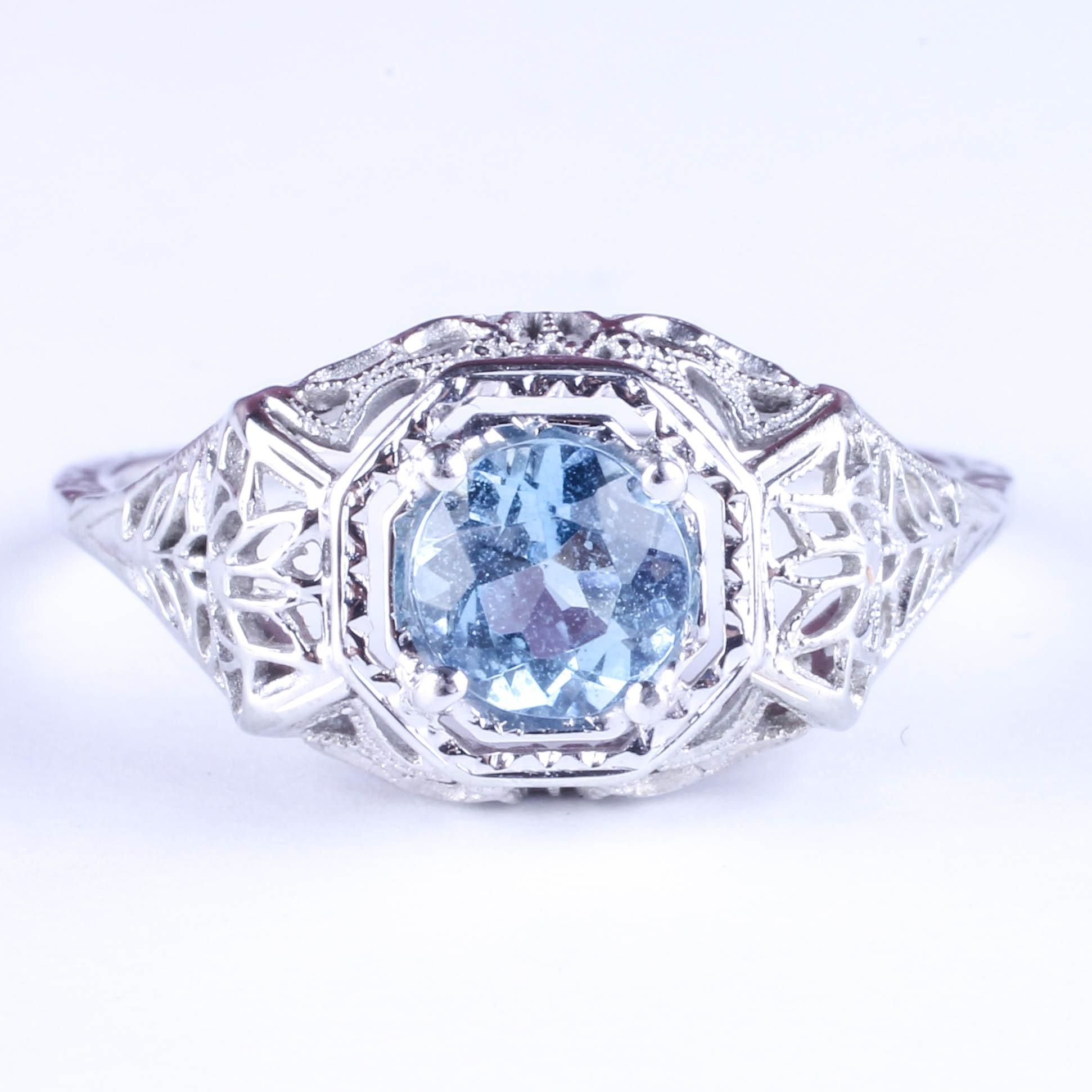 Antique Filigree 14K White Gold and Aquamarine Ring