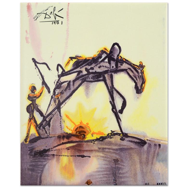 """After Salvador Dali Glazed Ceramic Tile """"The Horse of Labor"""""""