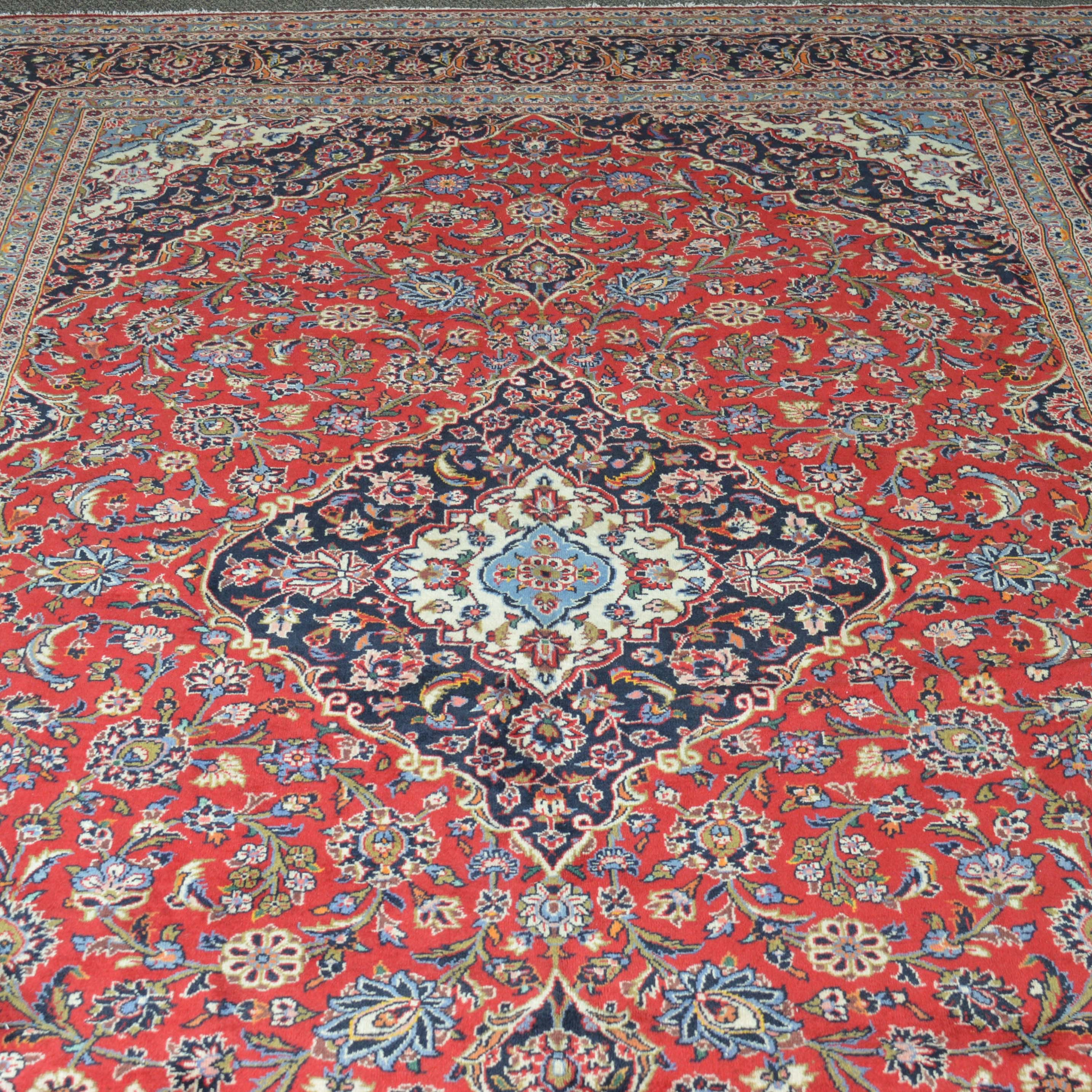 Semi-Antique Hand Knotted Persian Kashan Room Size Rug