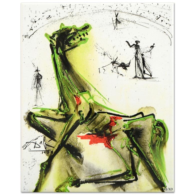 "Salvador Dali ""Victim of Festivities"" Limited Edition Glazed Ceramic Tile"