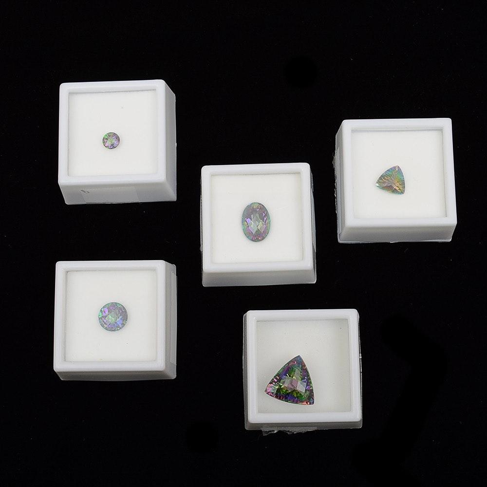 Five Loose Mystic Topaz Facet Cut Stones