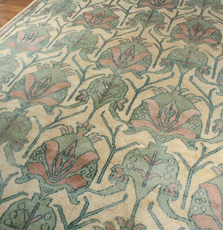 Hand knotted arts and crafts style wool area rug ebth for Arts and crafts style rug