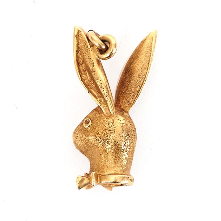 14k yellow gold playboy bunny pendant ebth 14k yellow gold playboy bunny pendant aloadofball Image collections