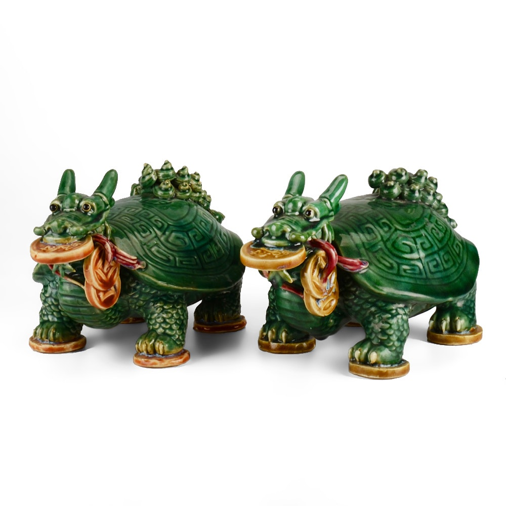 Pair of Chinese Ceramic Long-Tailed Turtles with Coins