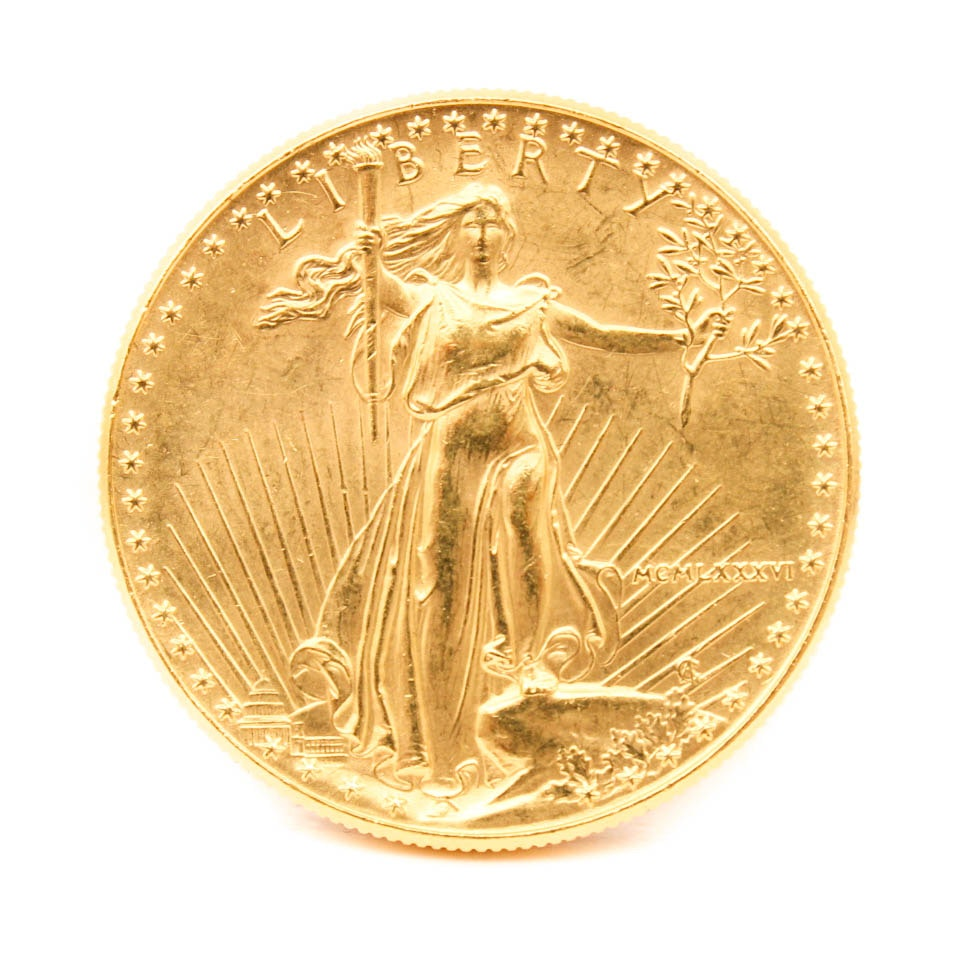 1986 One Ounce Fine Gold Fifty Dollar Walking Liberty Coin