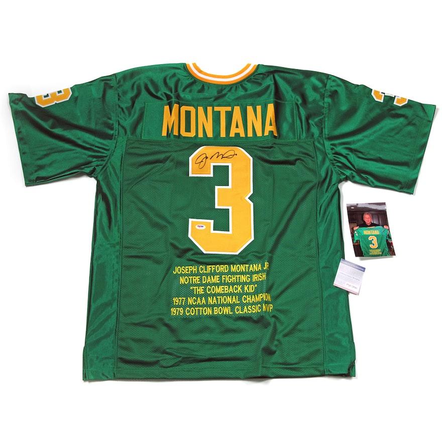 the best attitude 15e20 9b95d Signed Joe Montana Notre Dame Stat Jersey