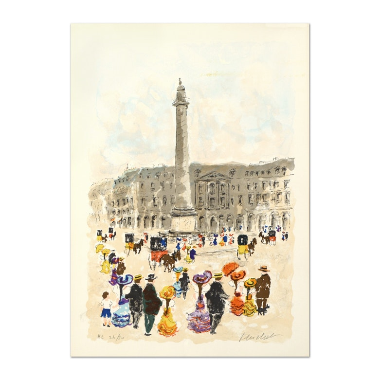 "Urbain Huchet Limited Edition Signed Lithograph ""Place Vendome"""
