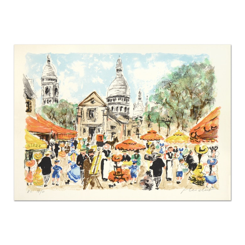 "Urbain Huchet Limited Edition Signed Lithograph ""Montmarte"""