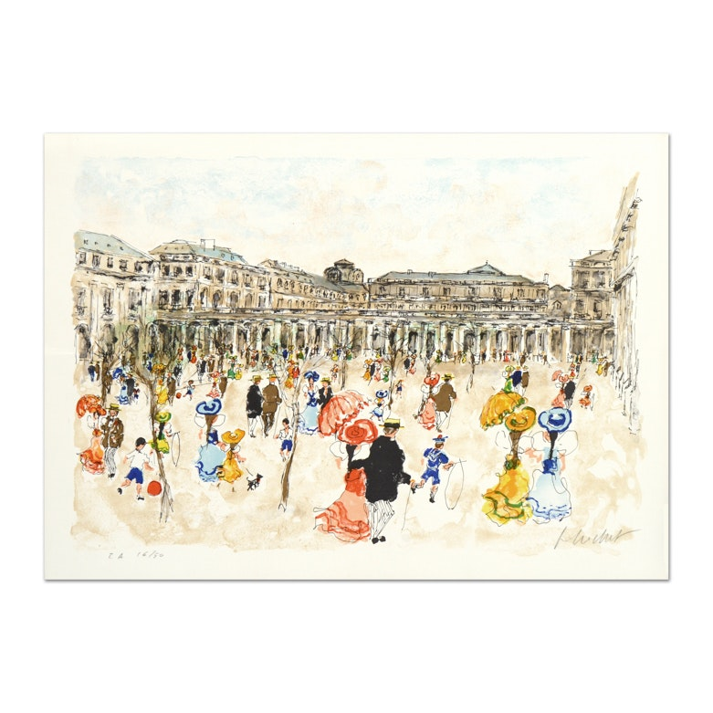 "Urbain Huchet Limited Edition Signed Lithograph ""Louvre"""