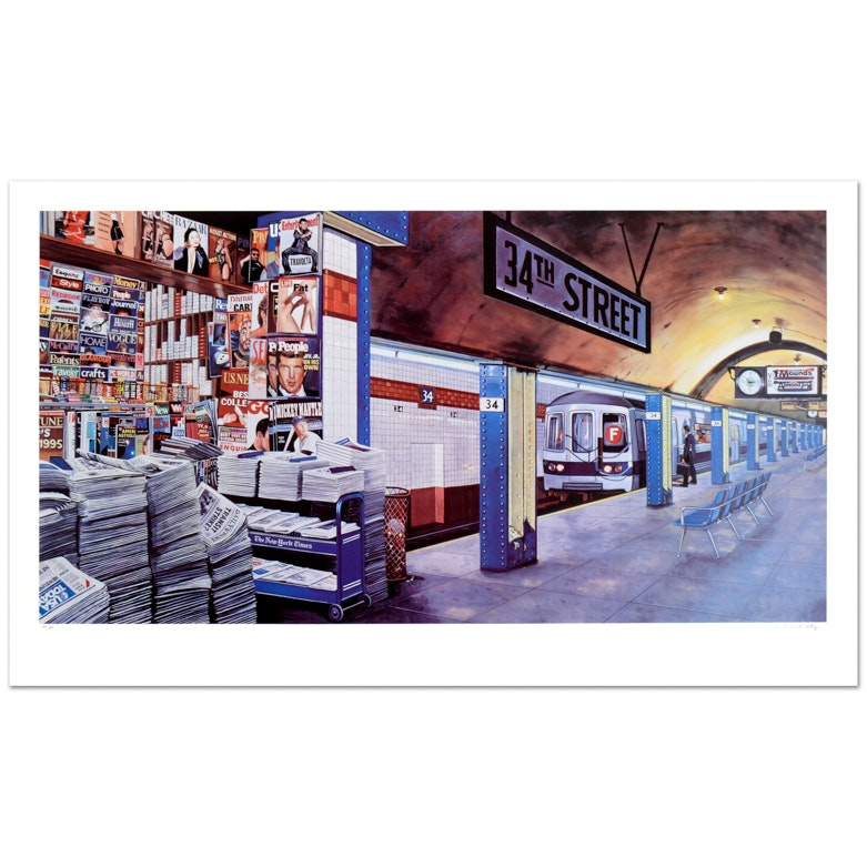 """Ken Keeley Limited Edition Signed Serigraph """"My Underground: 34th St Station"""""""
