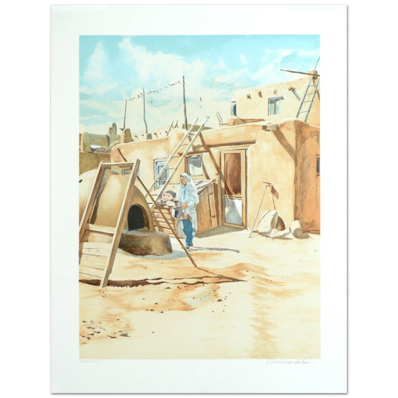 """William Nelson Limited Edition Signed Serigraph """"Adobe Man"""""""