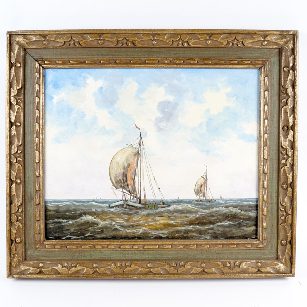 Original Sail Boat Painting in a Carved Wood Frame
