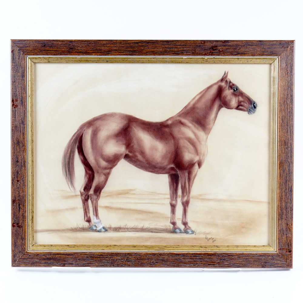 Barbara East Framed Drawing of a Horse
