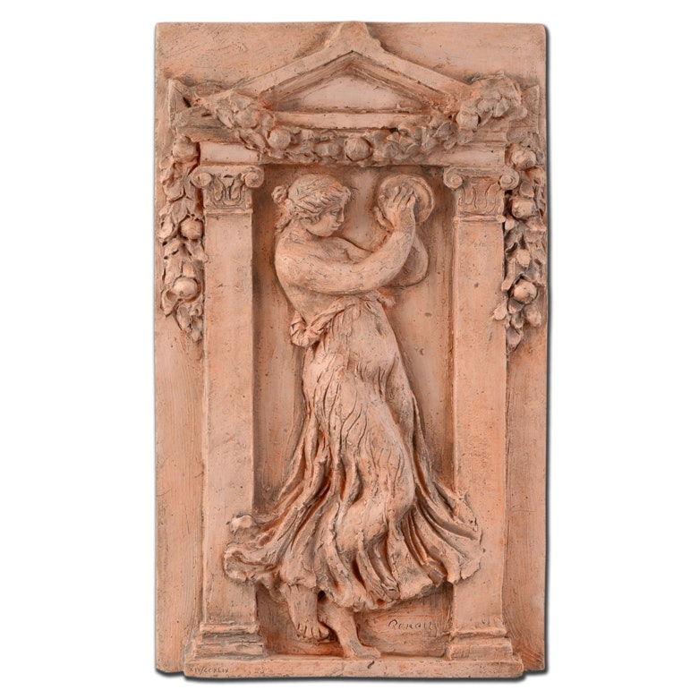 "Renoir Limited Edition Relief Sculpture with Cast Signature ""Dancer with Tambourine III"""