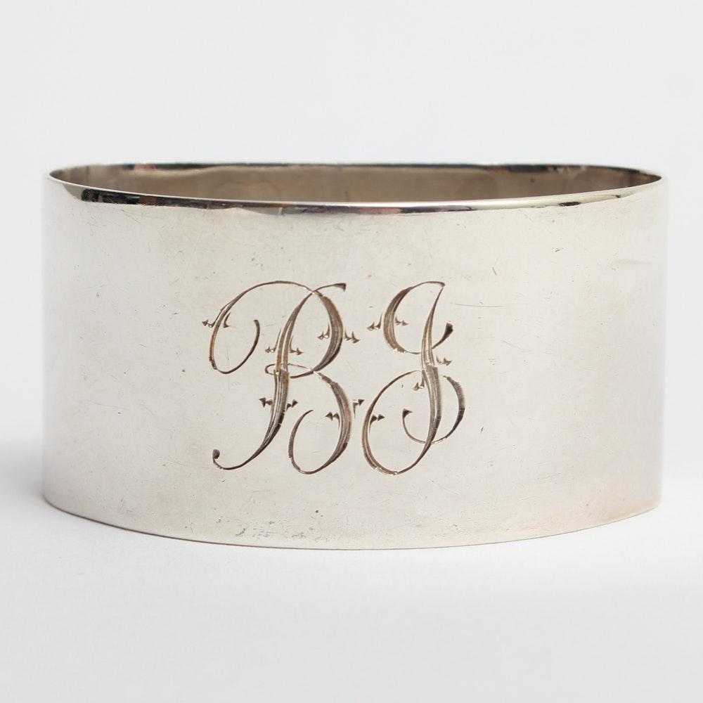 Vintage South African Sterling Silver Monogrammed Napkin Ring
