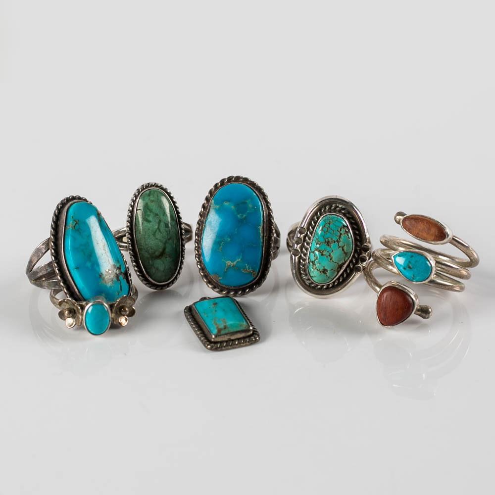 sterling silver and turquoise rings with pendant ebth