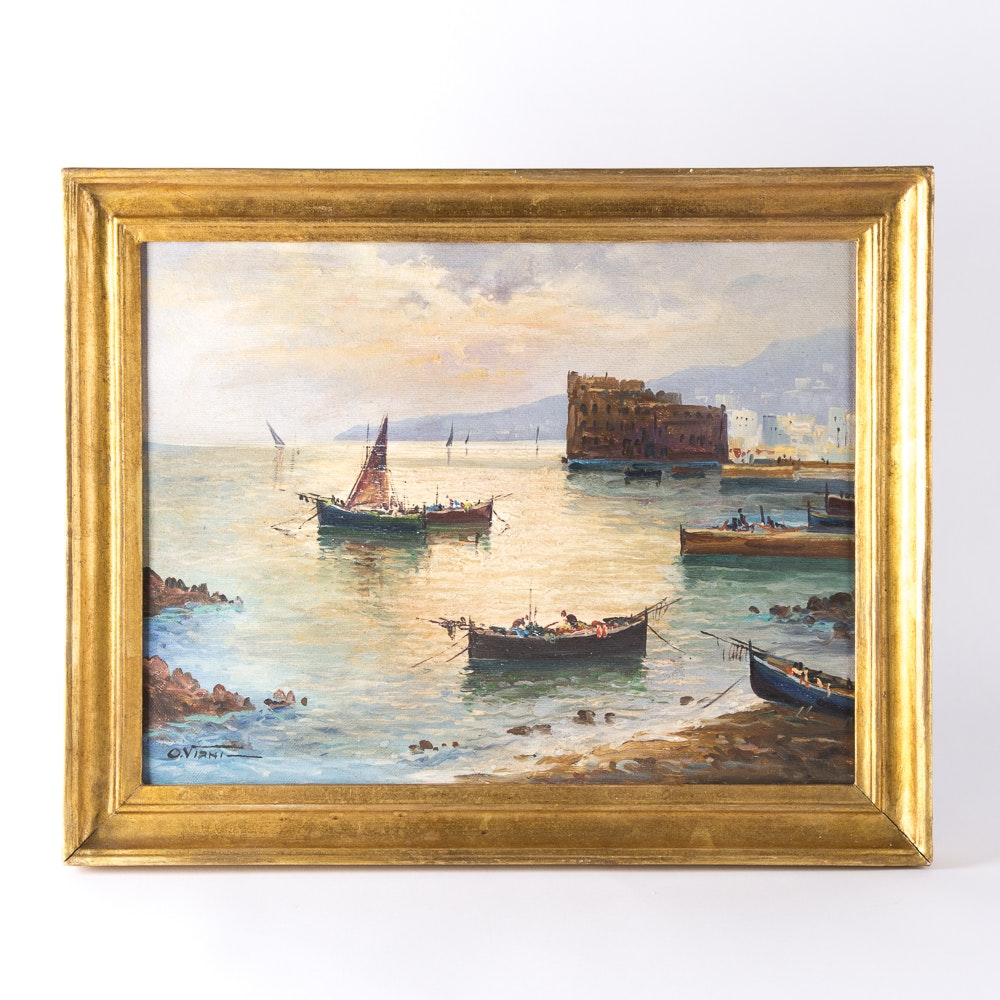 "O. Viani Oil on Canvas ""Fisherman's Boats in at Anchor"""