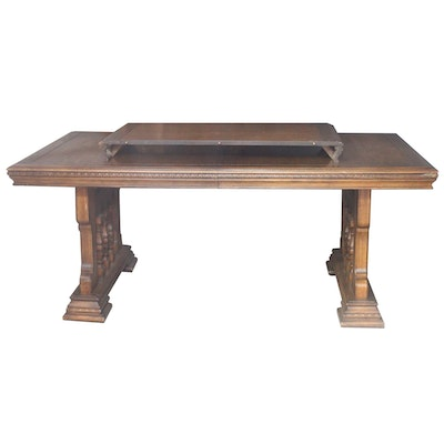Circa 1900 tiger oak roper style table ebth for Dining table with leaf insert