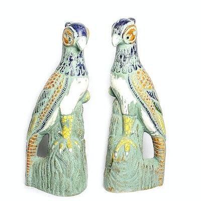 Large Porcelain Parrot Statues