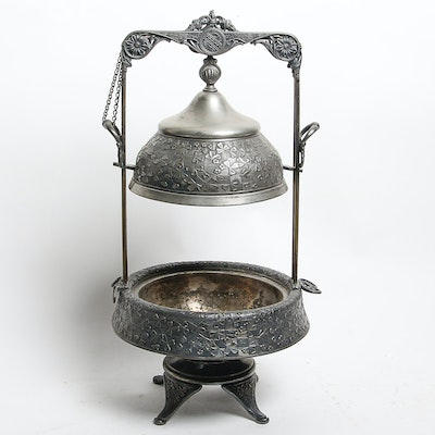 Vintage Silver Tone Butter Server on Stand