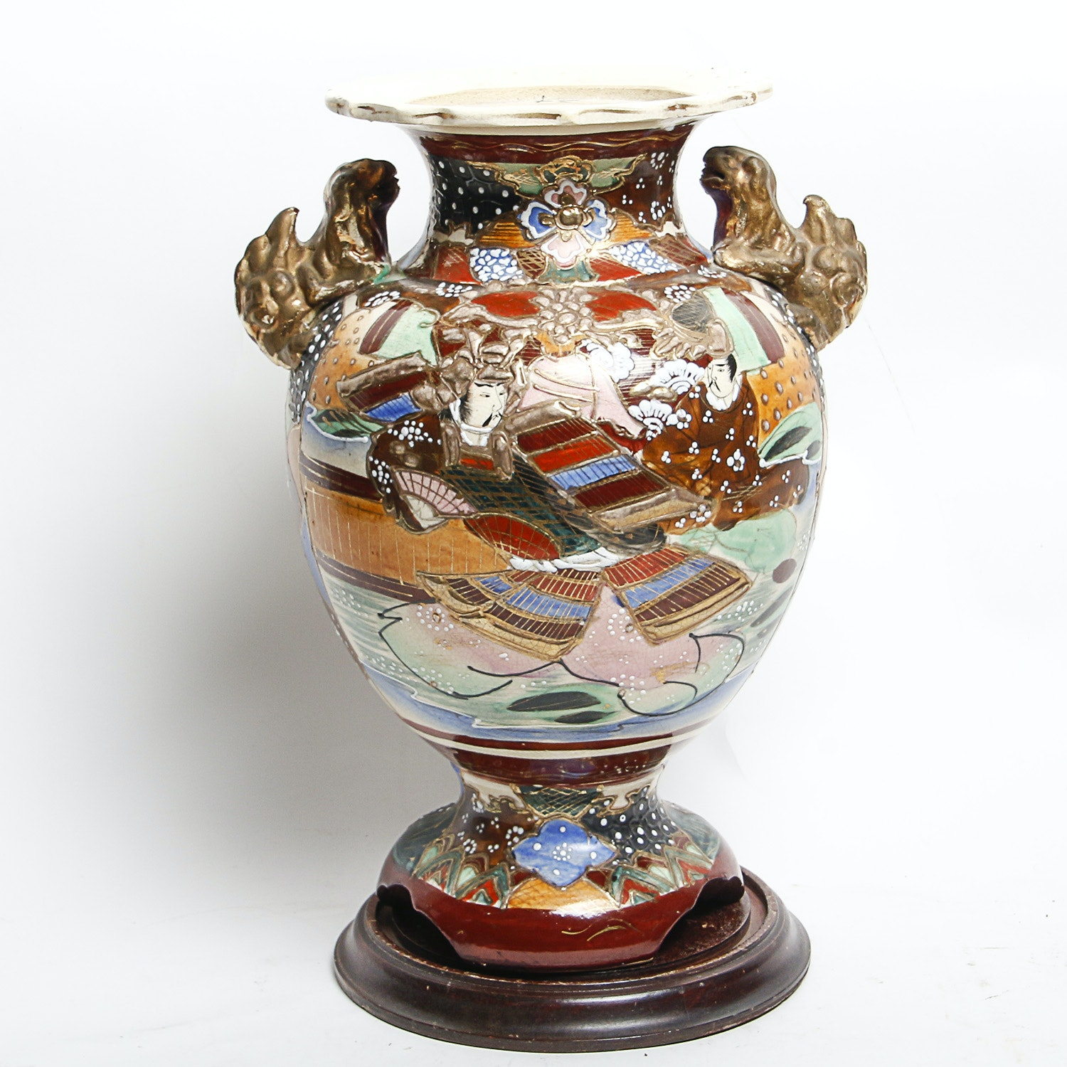 Japanese Ceramic Urn with Wooden Stand