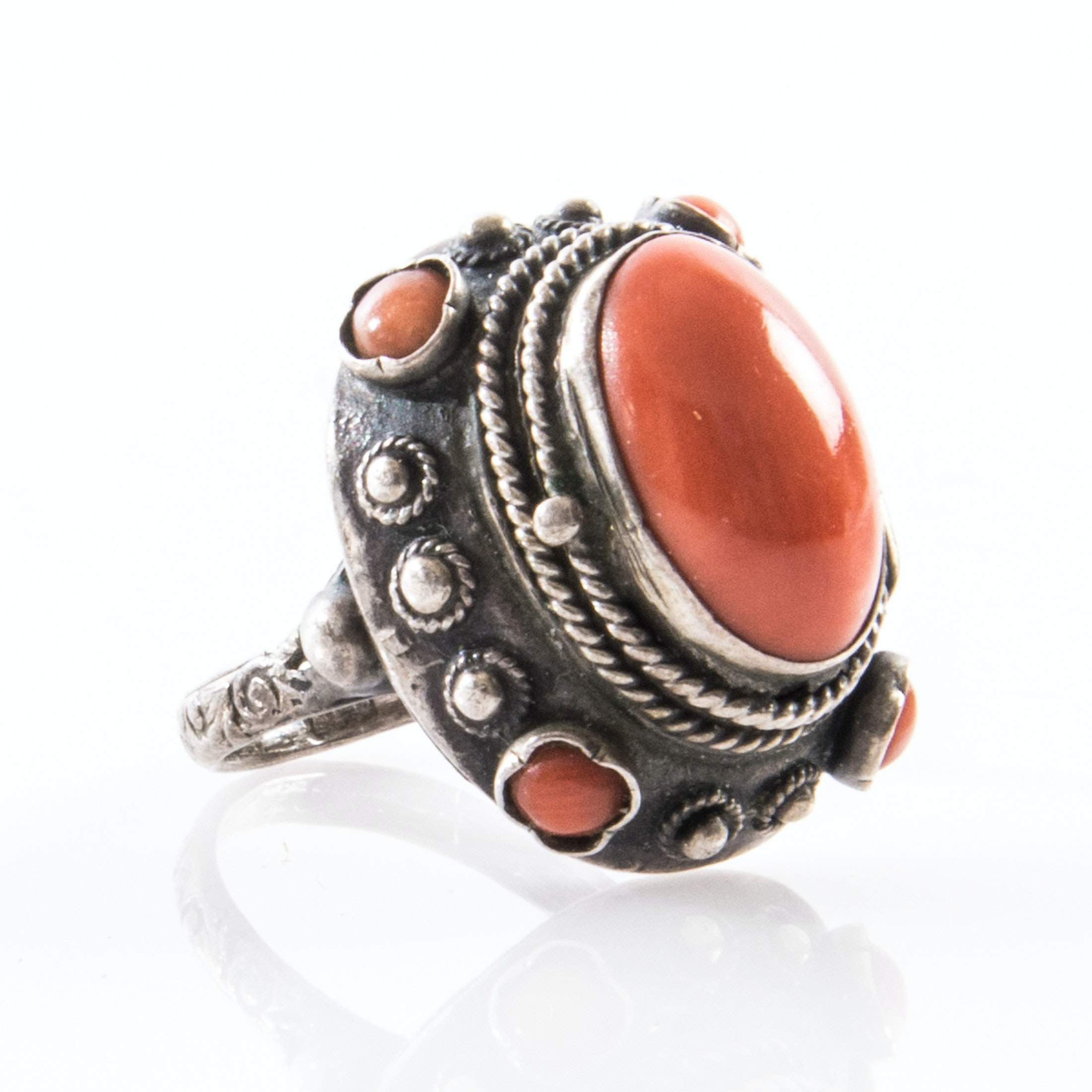 Sterling Silver Coral Poison Ring