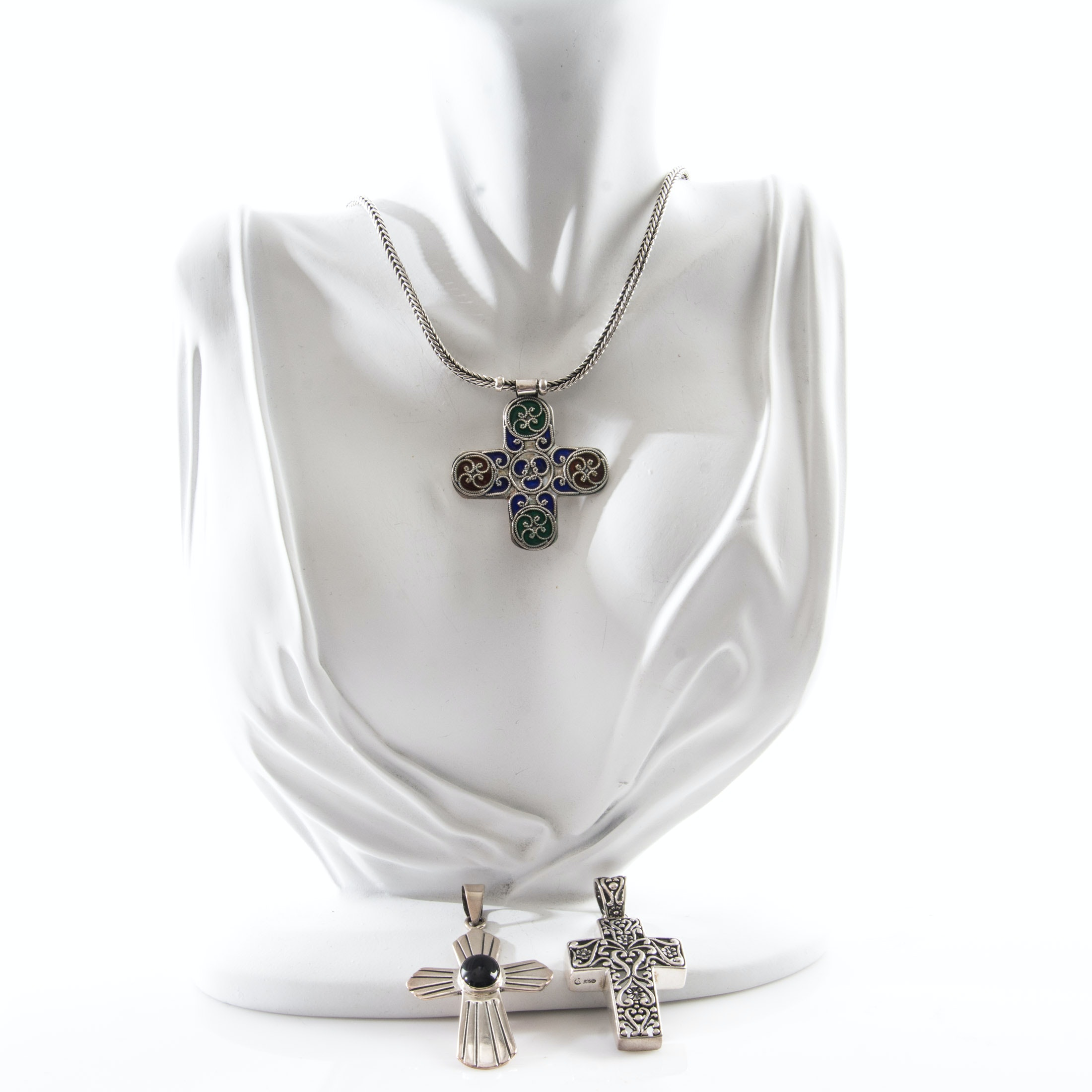 Sterling Silver Necklace with Cross Pendants