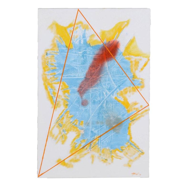 "Ricardo Morin Oil Painting on Linen ""Triangulation Series No. 31"""