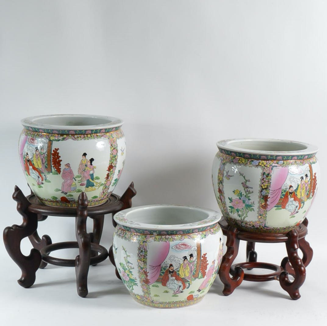 Chinese Planters with Hand Painted Accents