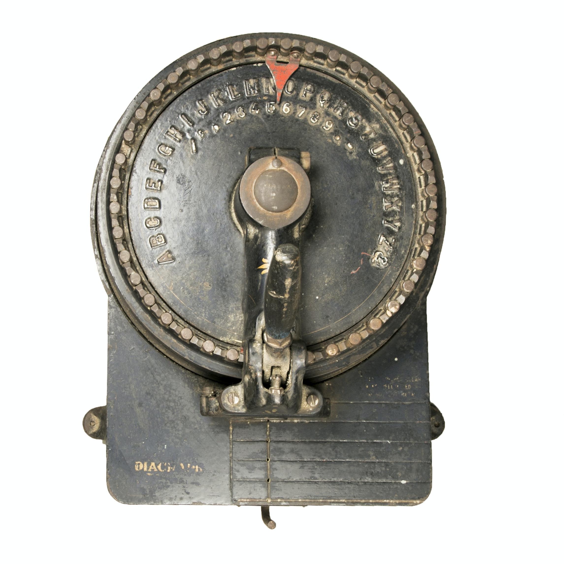 "Ca. 1896 The Diagraph Co. ""Vulcan"" Stencil Cutting Machine"