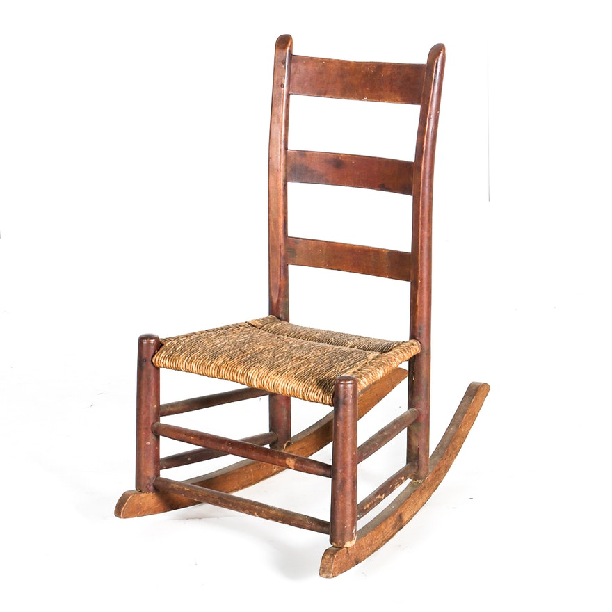 Astonishing Antique Oak Rocking Chair With Wicker Seat Machost Co Dining Chair Design Ideas Machostcouk
