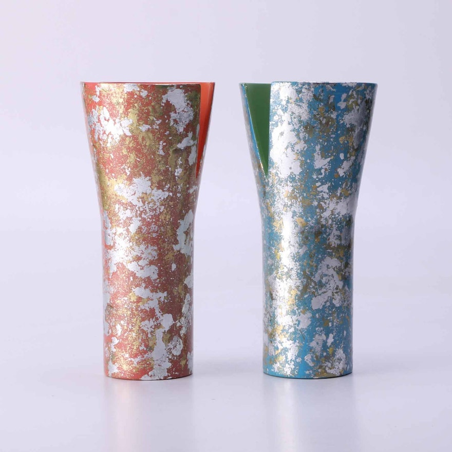 Gold And Silver Leaf Craft Vases Ebth