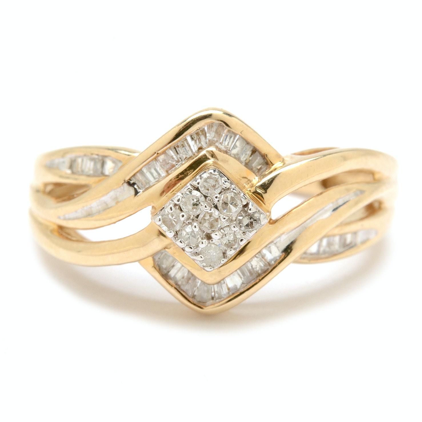10K Yellow Gold Diamond Cluster Fashion Ring