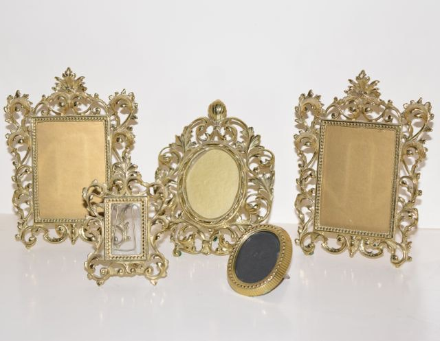 Five Brass Virginia Metalcrafters Picture Frames