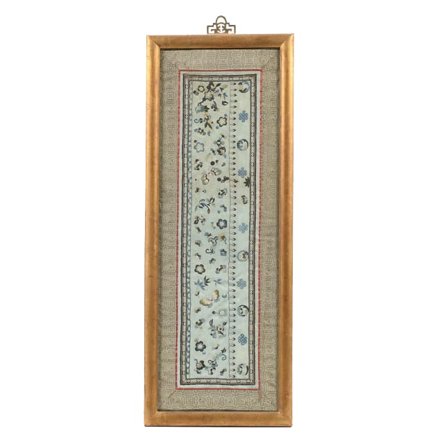 Chinese Embroidered Silk Floral Panel