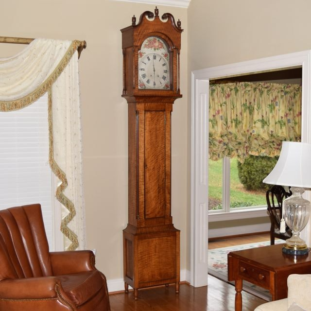Antique Federal Style Tiger  Maple Tall Case Clock