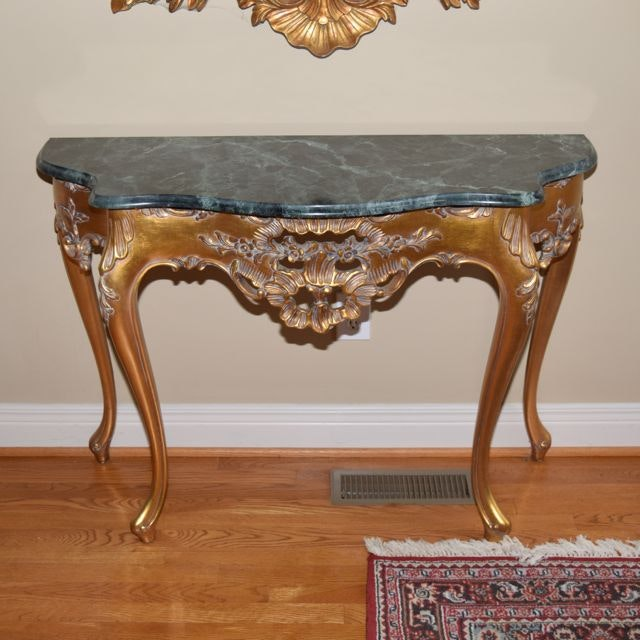 Karges Furniture Marble Top Gilt Painted Wood Console Table ...