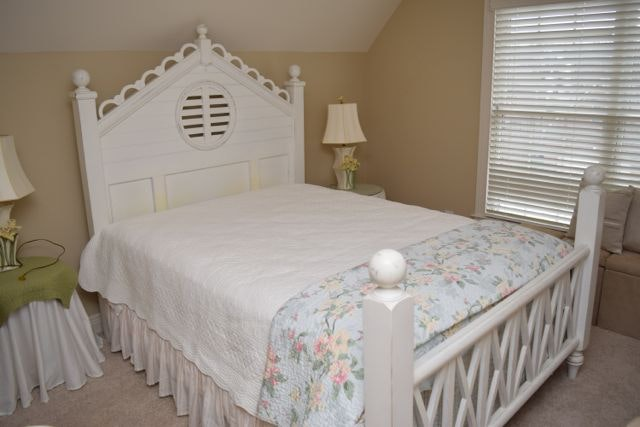 Antiqued Cottage Style White Wood Queen Size Bed