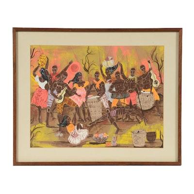 E. G. Kaufmann Original 1968 Gouache Folk Painting on Paper