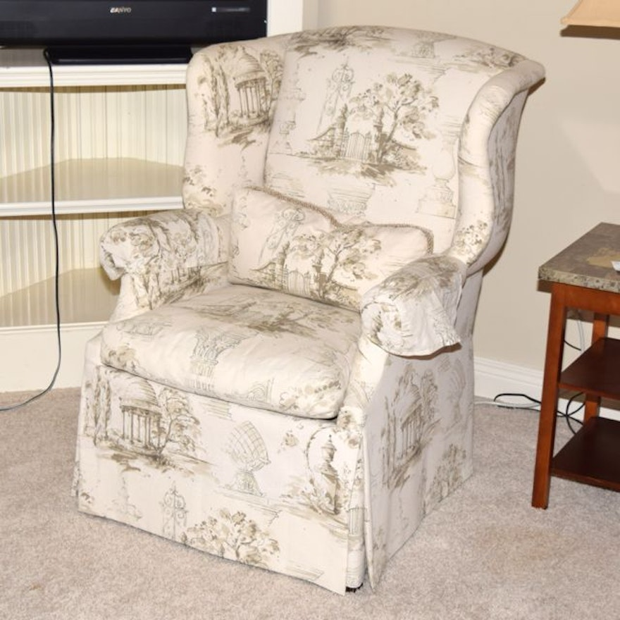 Upholstered Isenhour French Country Style Wingback Chair