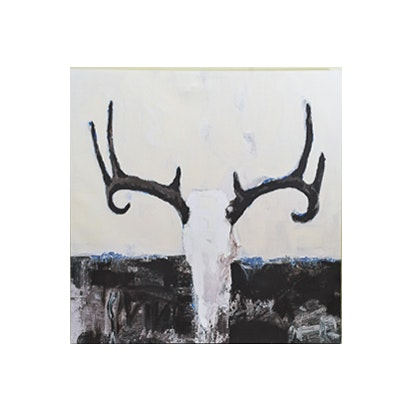 Mixed Media Canvas Depicting a Deer Skull