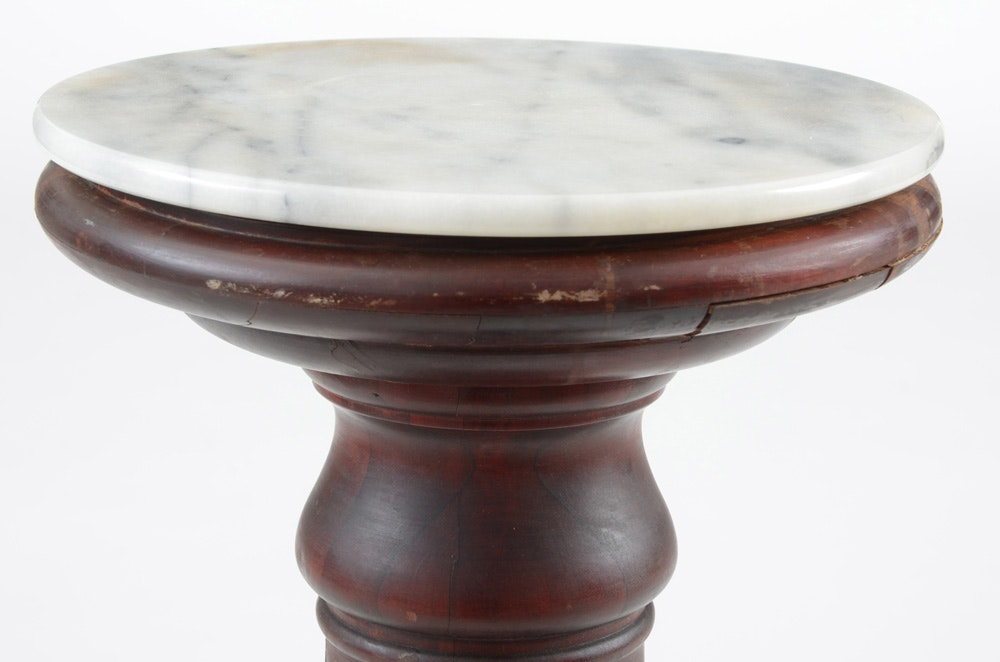 Antique fluted pedestal stand with marble top ebth for Fluted pedestal base