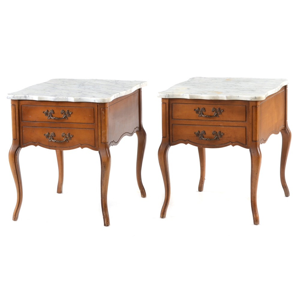 Pair Of French Provincial Style Marble Top End Tables Ebth