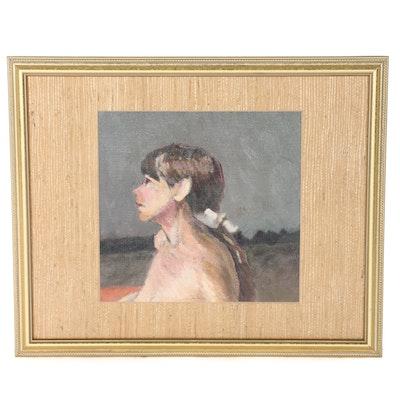 Unsigned Original Oil on Canvas Board of Woman's Portrait