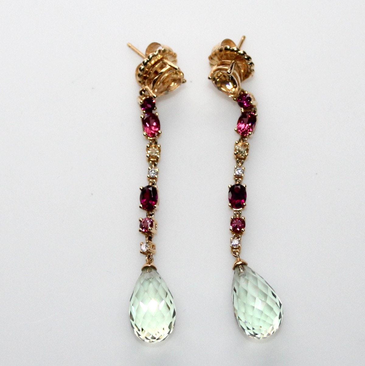 Multi Color Gemstone and Diamond Drop Earrings
