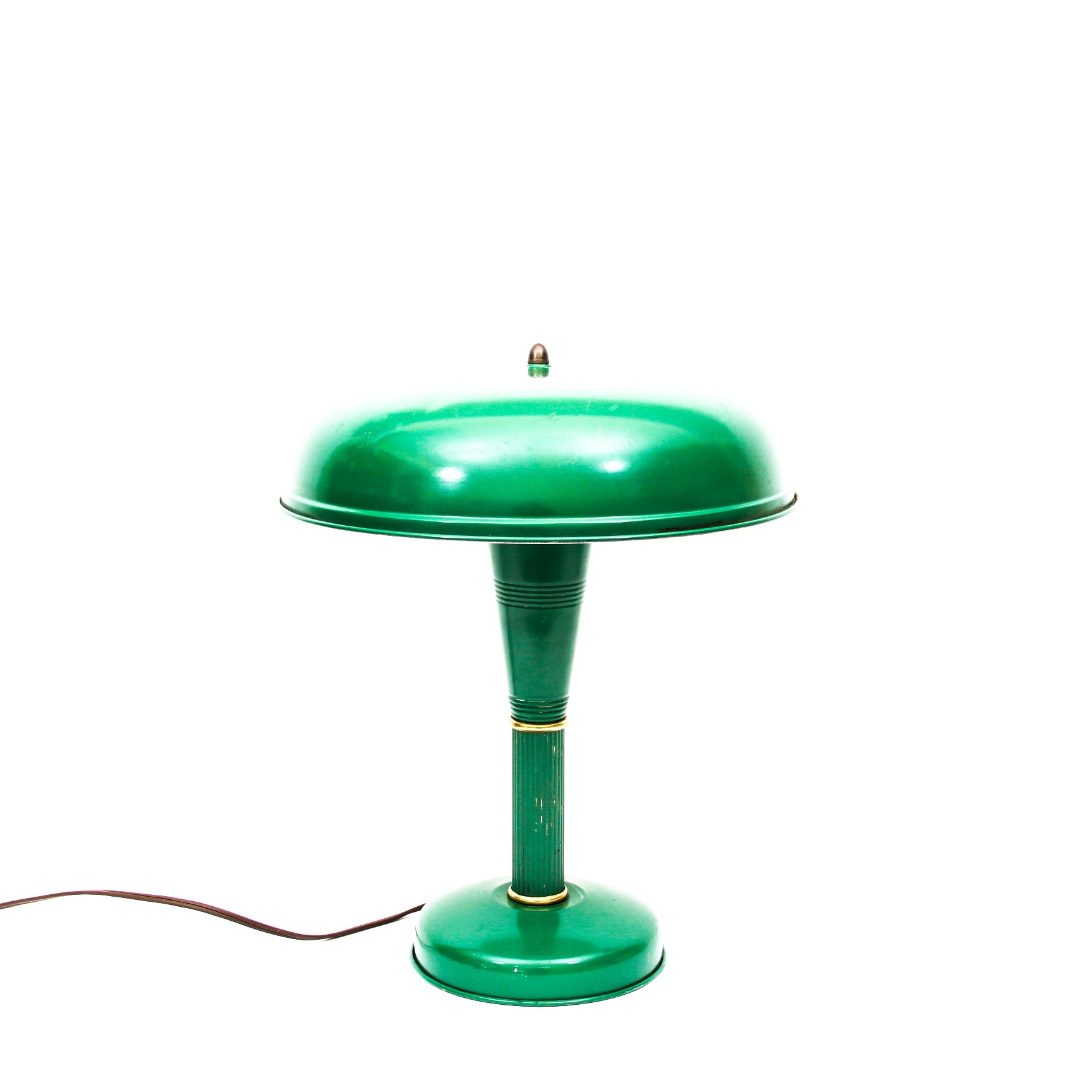 Vintage Kelly Green Enameled Art Deco Industrial Desk Lamp