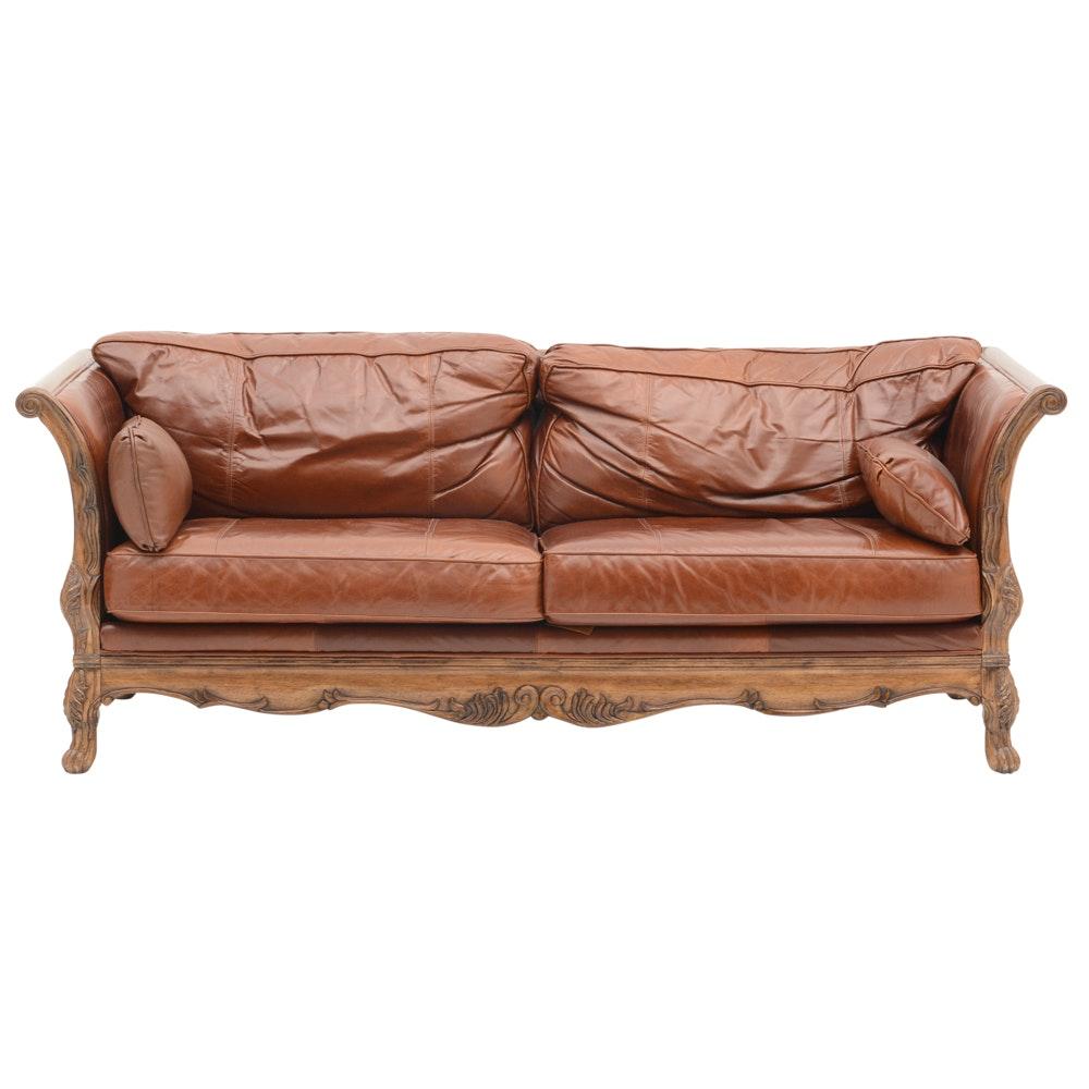 Bernhardt Carved Canape Style Leather Sofa EBTH