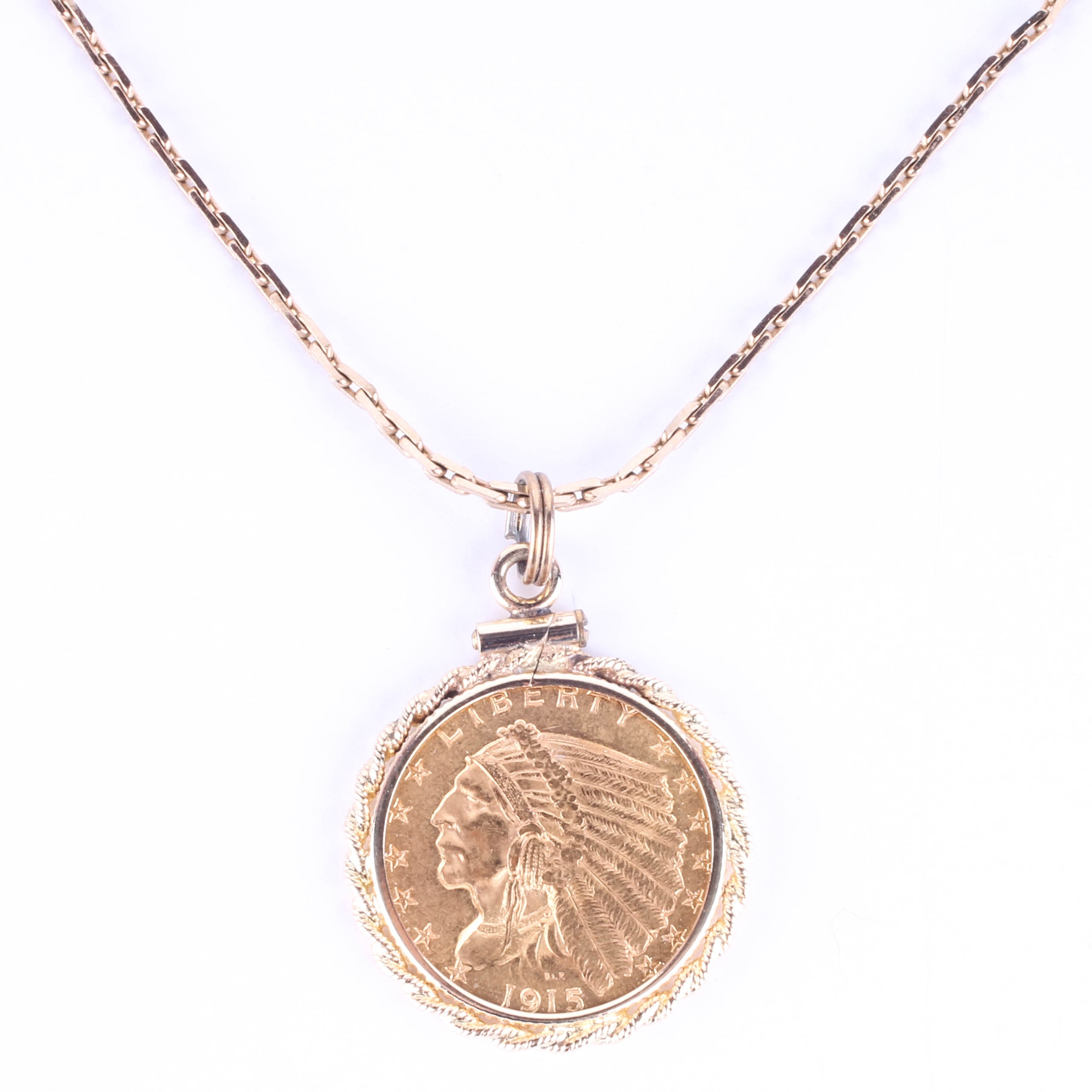 1915 American Gold Coin Pendant and Necklace